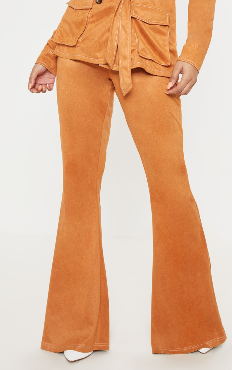 Toffee High Waisted Flare Leg Trousers 2