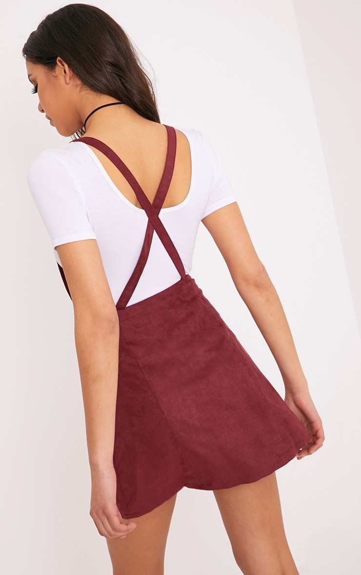 Lumie Burgundy Faux Suede Pinafore Dress 2
