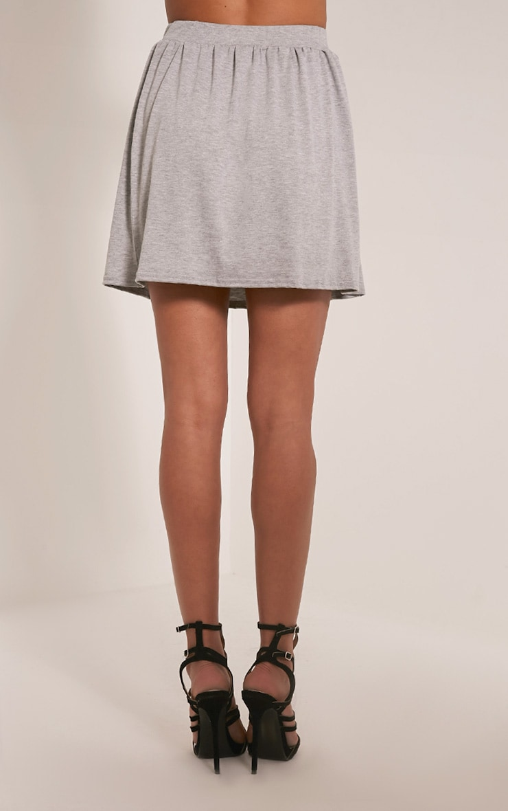 Basic Grey Floaty Jersey Mini Skirt 4