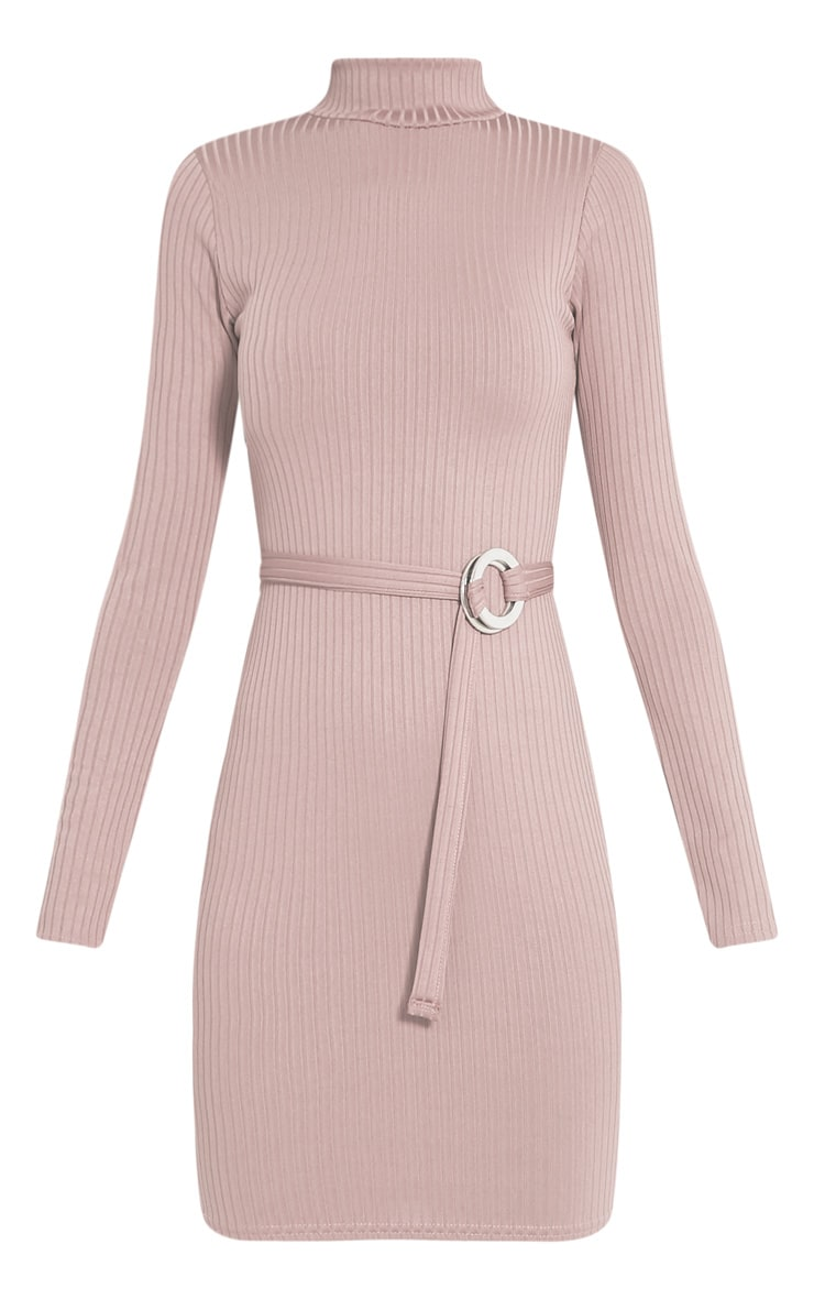 Mya Taupe Belt Detail Ribbed Bodycon Dress 3