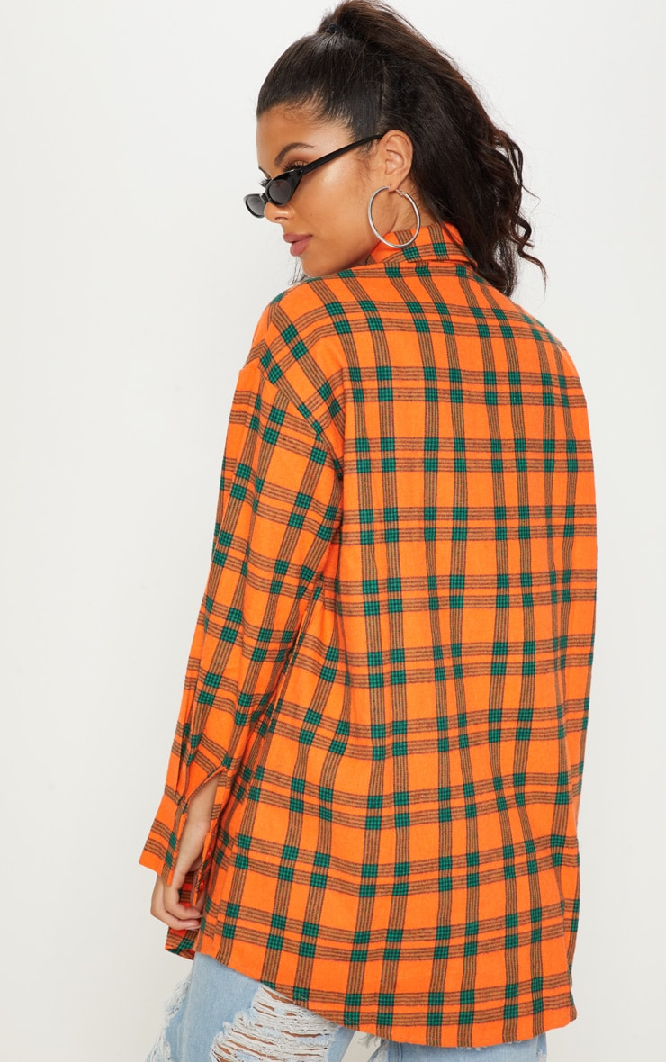 Orange Tartan Checked Flannel Pocket Detail Oversized Shirt 2
