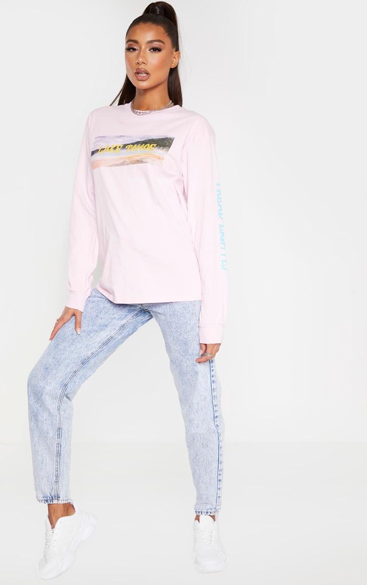 Light Pink Lake Tahoe Slogan Long Sleeve T Shirt 3