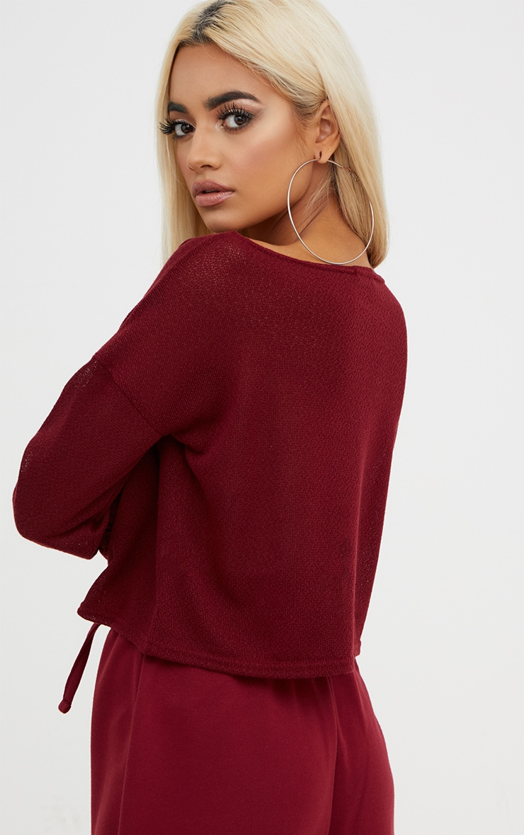Maroon Lightweight Knit Ruched Sleeve Crop Top  2