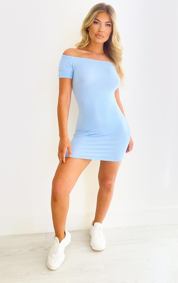 Baby Blue Short Sleeve Bardot Bodycon Dress 3