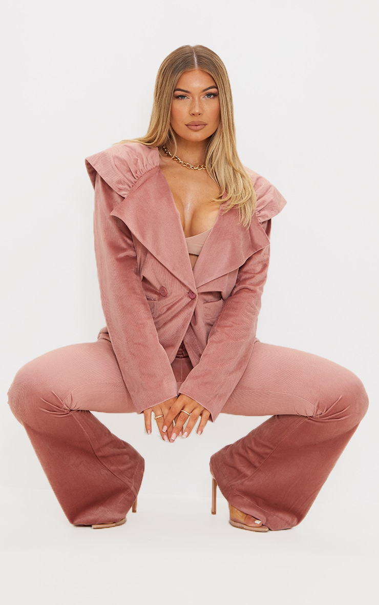 Pink Cord Pleated Shoulder Oversized Blazer 3