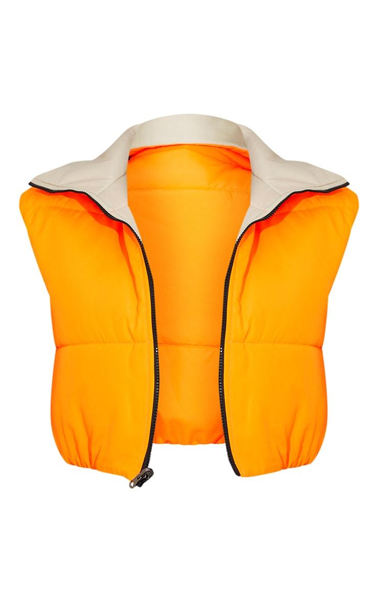 Orange Reversible Cropped Gilet 5