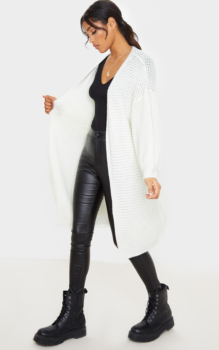 Cream Knitted Longline Belted Cardigan 3