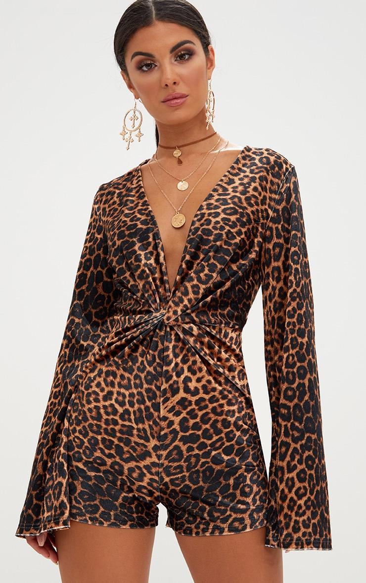 Leopard Print Velvet Knot Romper 1