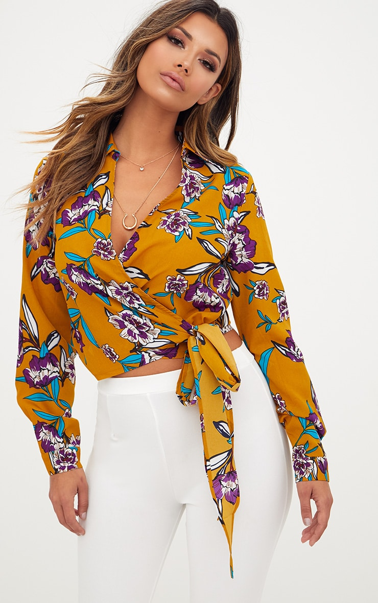 Mustard Floral Print Wrap Front Tie Side Blouse 1