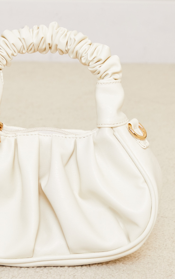 Cream Ruched Mini Grab Bag 3