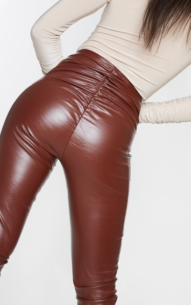 Chocolate Ruched Faux Leather Legging 4