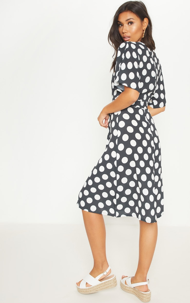 Monochrome Polka Dot Midi Dress 2