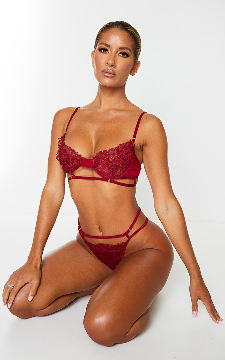 Wine Embroidered Lace Detail Strappy Lingerie Set 1