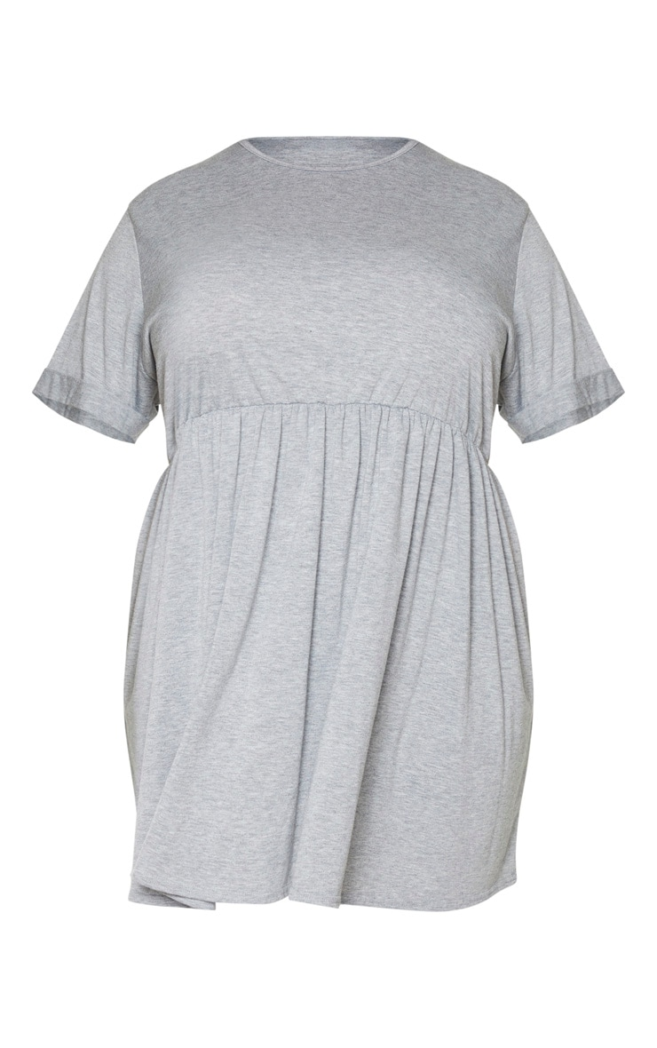 Plus Grey Marl Jersey Oversized Smock Dress 5