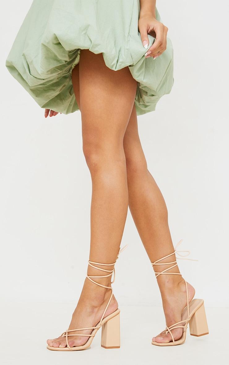 Nude PU Toe Loop Lace Up Chunky Block Heeled Sandals 2
