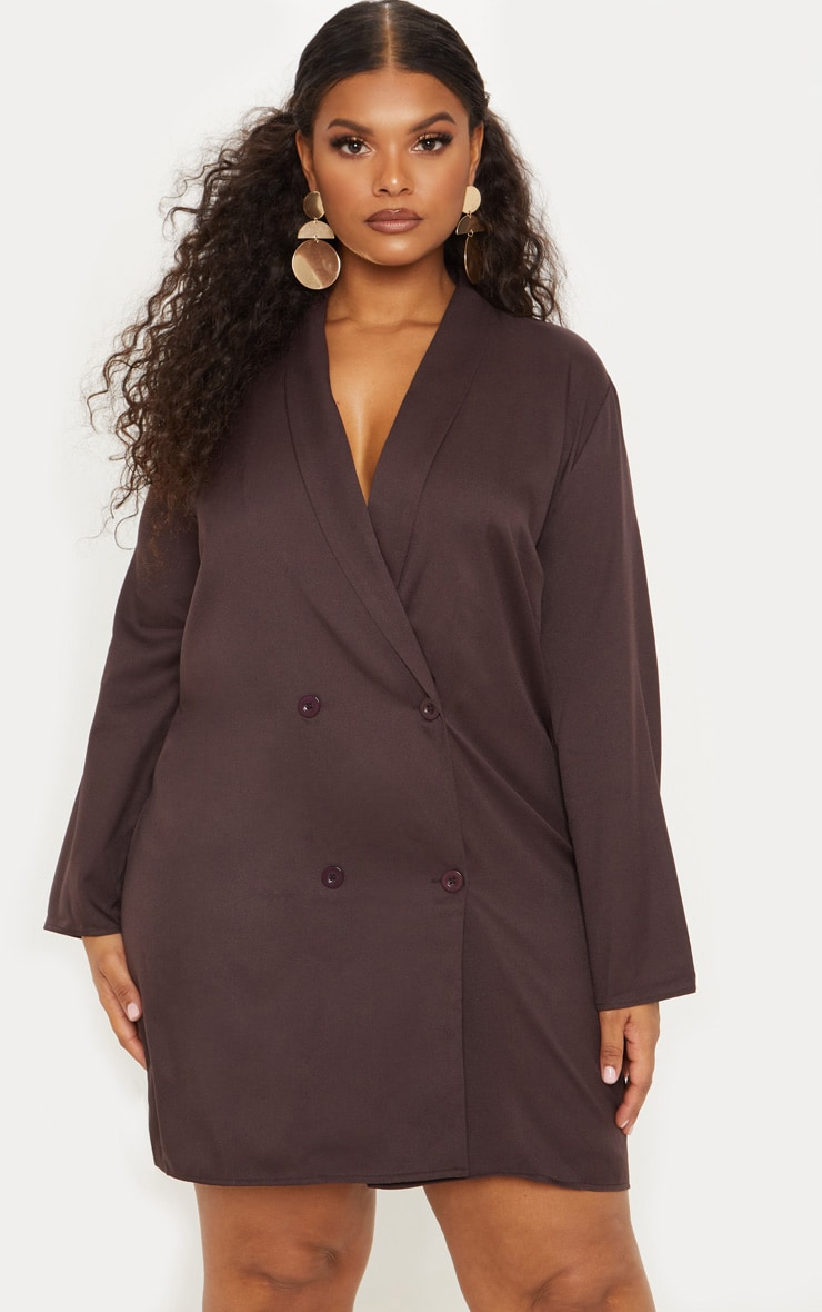 Plus Chocolate Brown Oversized Blazer Dress