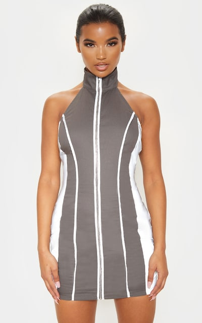 Charcoal High Neck Zip Detail Reflective Cargo Bodycon Dress