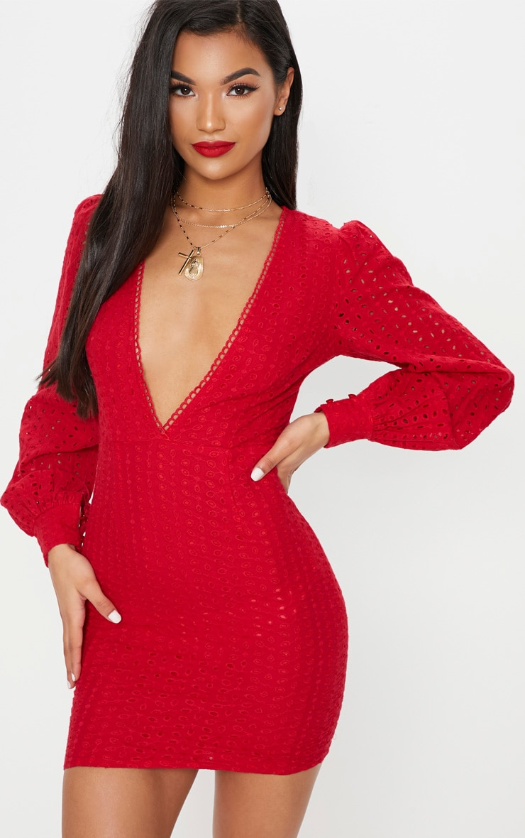 Red Crochet Lace Puff Sleeve Bodycon Dress 1