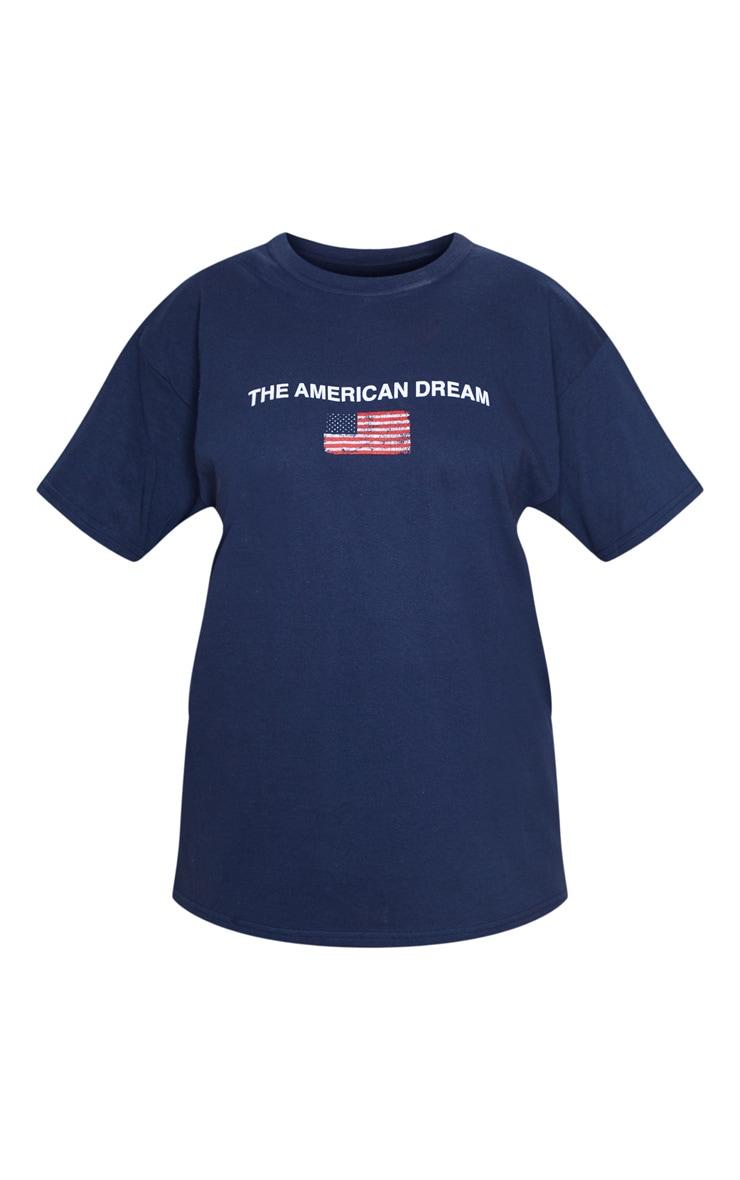 Tee-shirt bleu marine àslogan American Dream 5