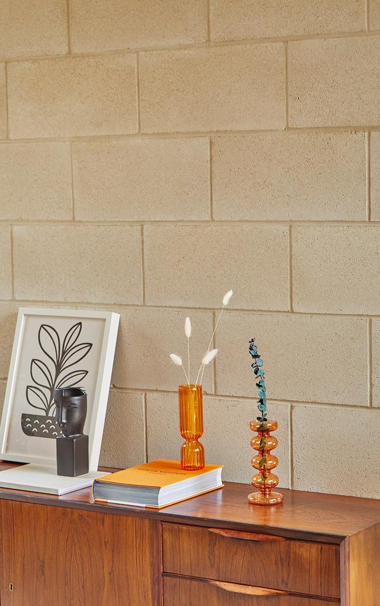 Orange Ribbed Glass Vase 2