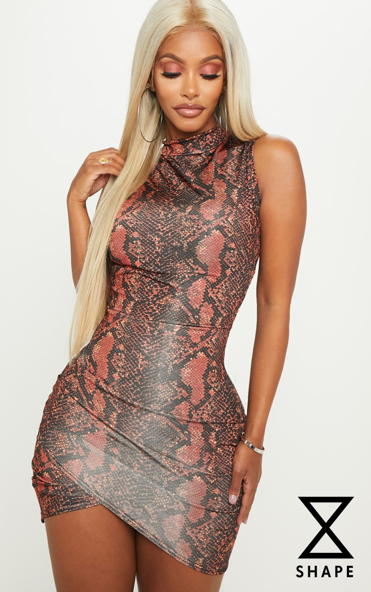 Shape Rust High Neck Snake Print Bodycon Dress
