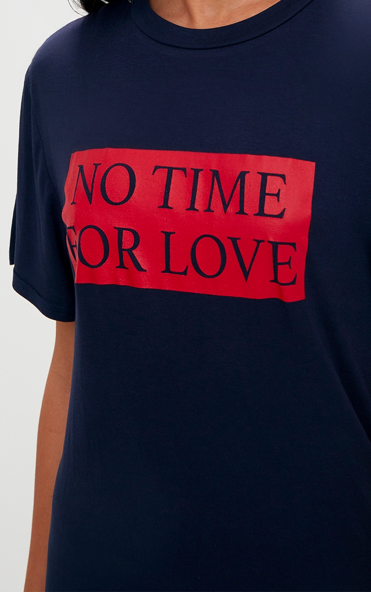 Navy No Time For Love T Shirt Dress 4