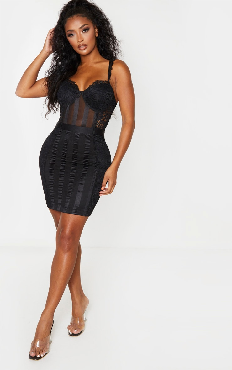 Shape Black Lace Mesh Stripe Strappy Bodycon Dress 1
