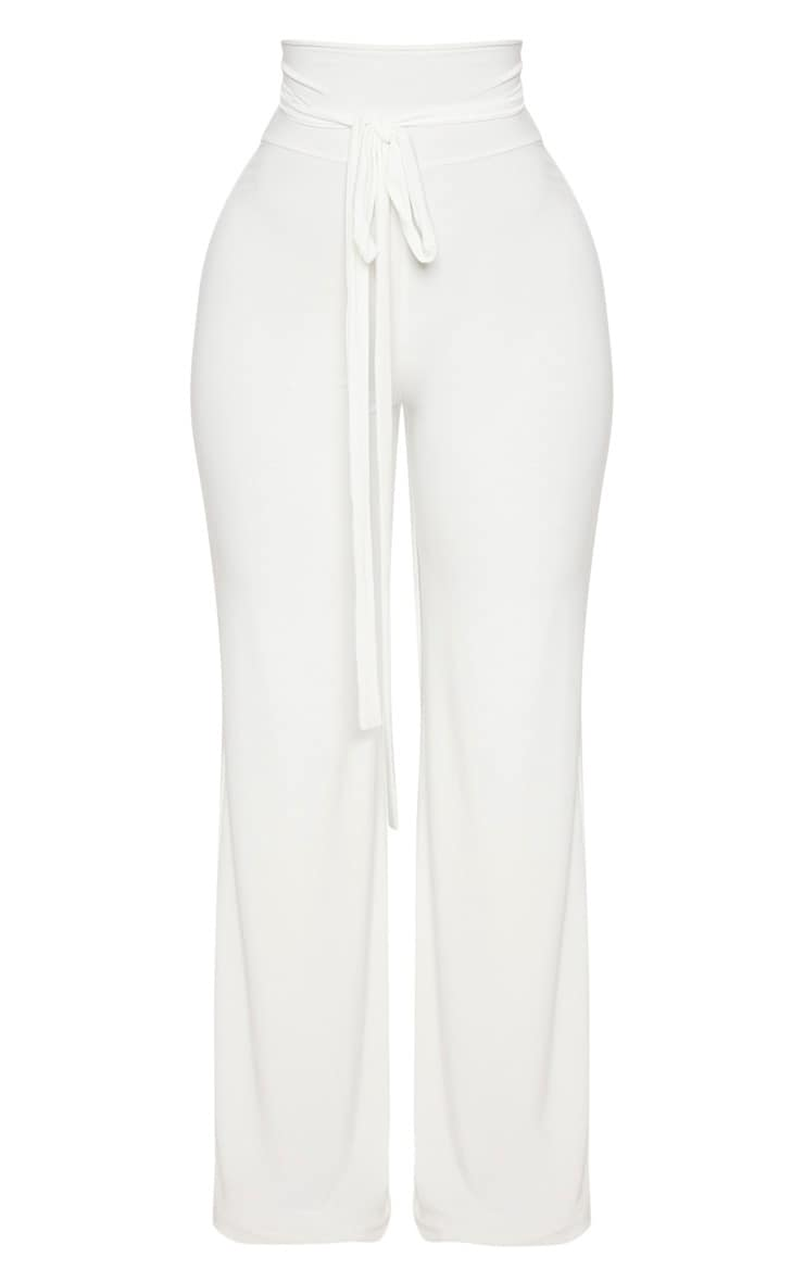 Shape White Slinky Extreme High Waist Detail Wide Leg Pants 3
