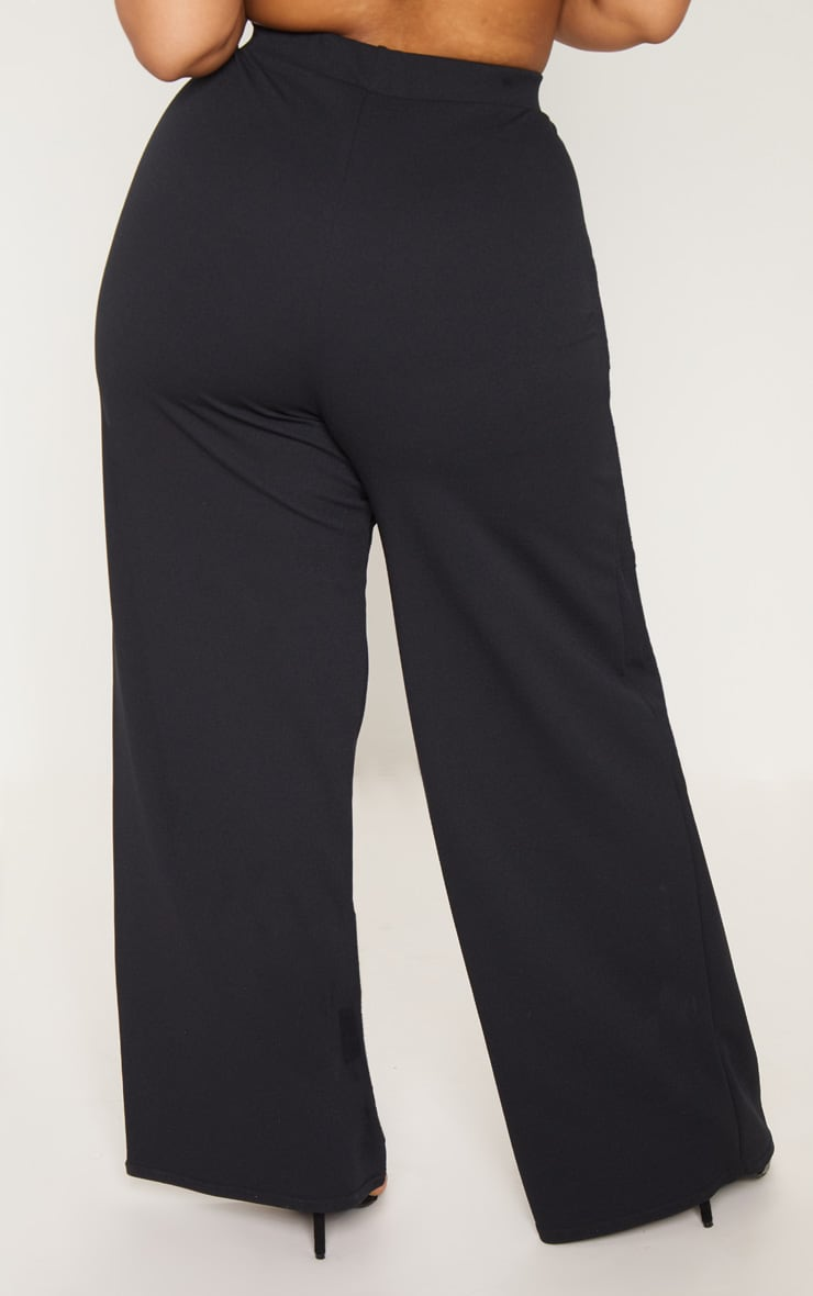 Plus Black Wrap Detail Extreme Wide Leg Pants 4