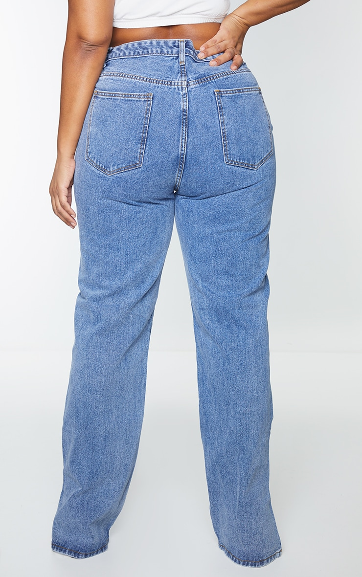 Plus Vintage Wash Split Hem Jeans 3