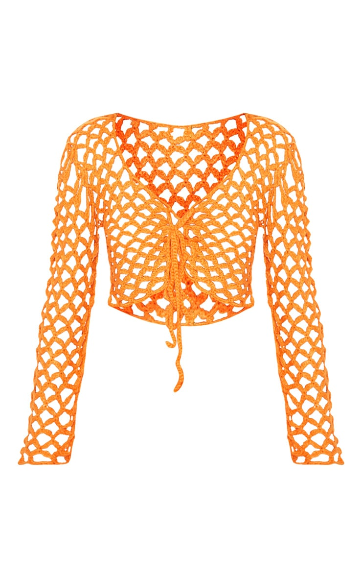 Orange Crochet Lace Up Top  3