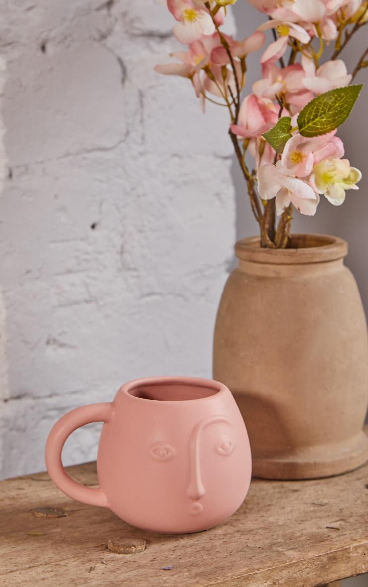 Pink Abstract Face Mug 1