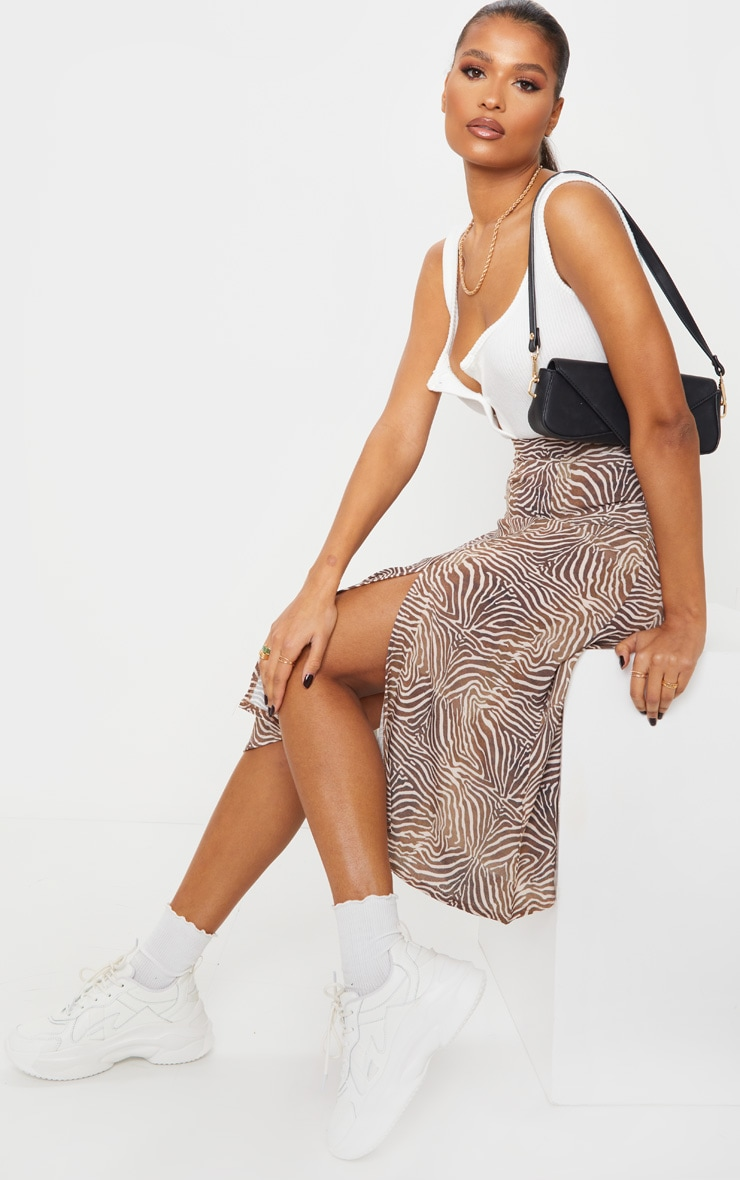 Brown Zebra Floaty Midi Skirt image 1