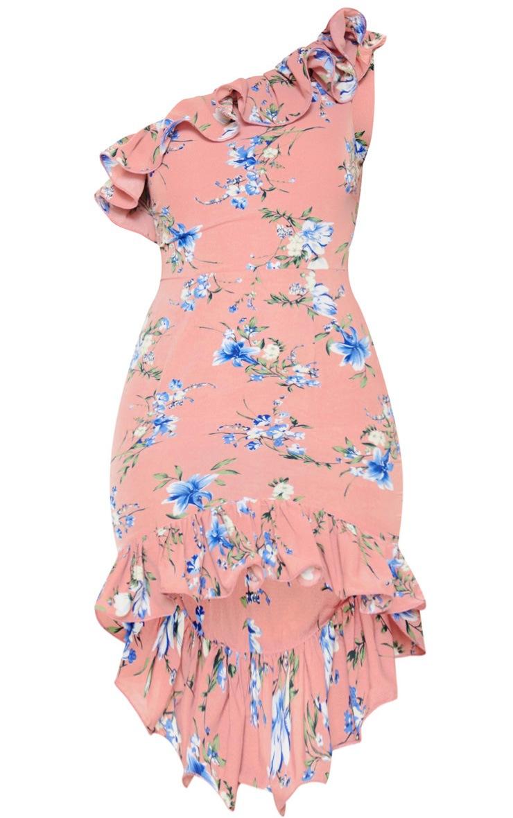 Pink Floral Print One Shoulder Midi Dress 3