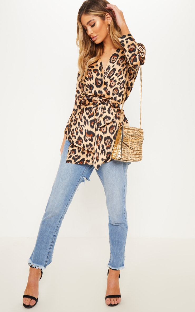 Tan Leopard Wrap Shirt 4