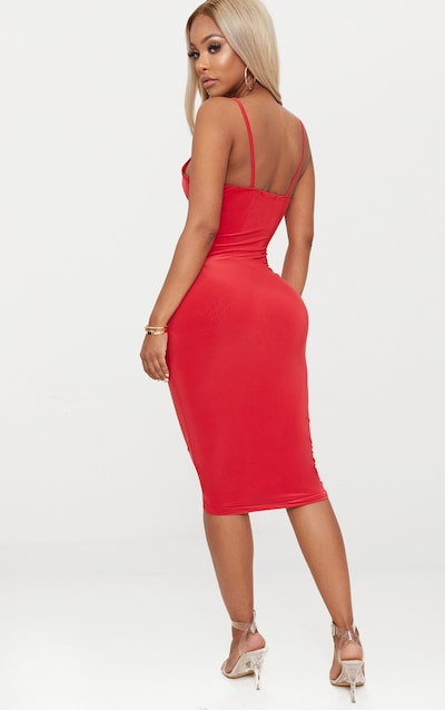 Shape Red Slinky Ruched Strappy Midi Dress