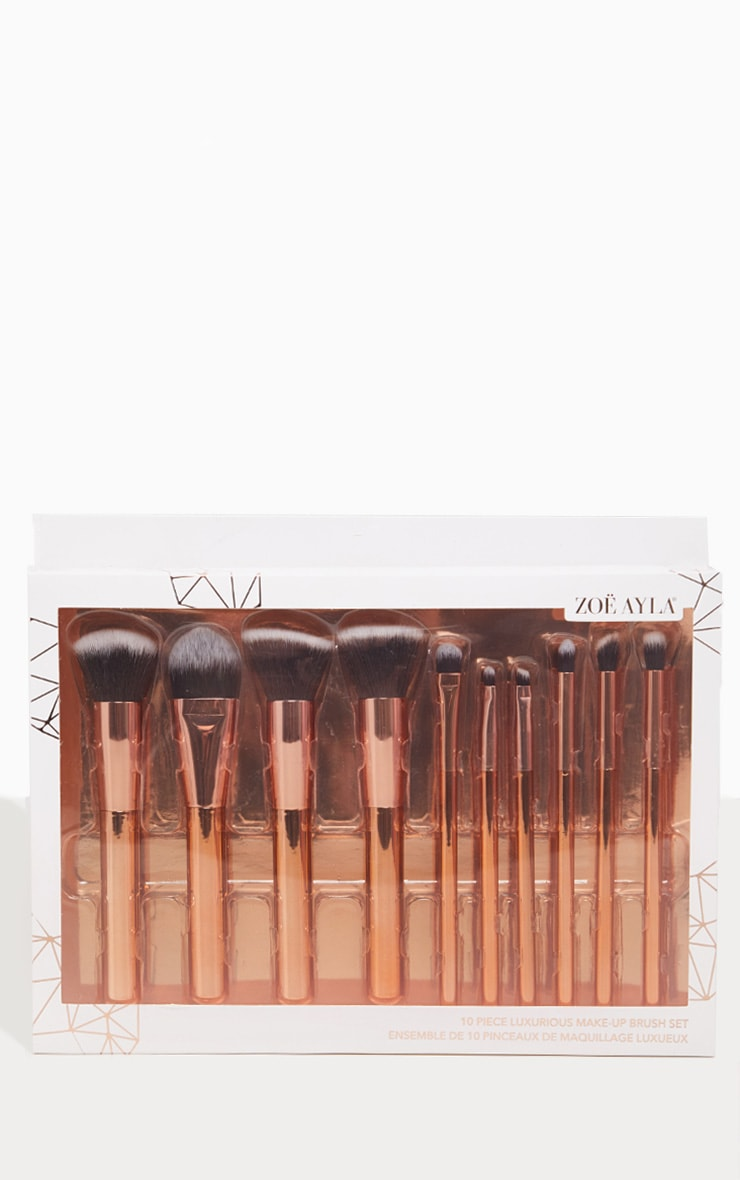Zoe Ayla 10 Piece Luxurious Gold Make-up Brush Set 2