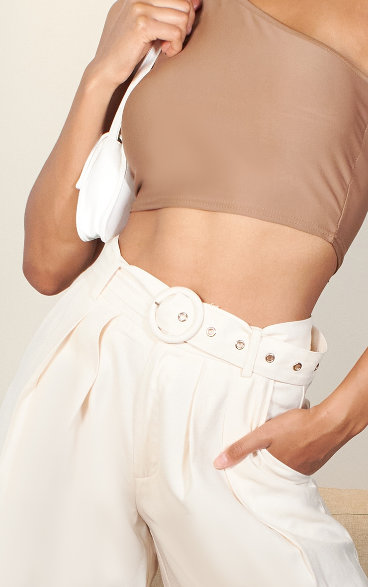 Cream Belted Extreme Wide Leg Pants 4
