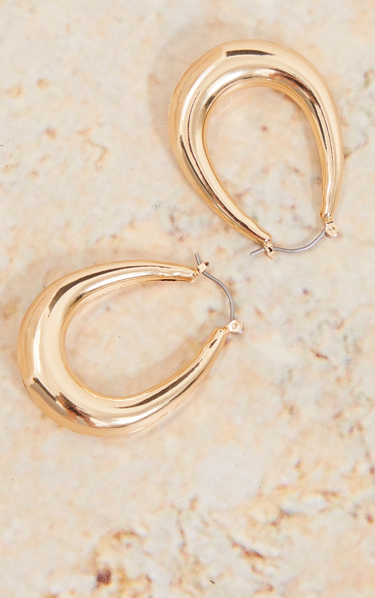 Gold Rounded Oval Hoop Earrings 3