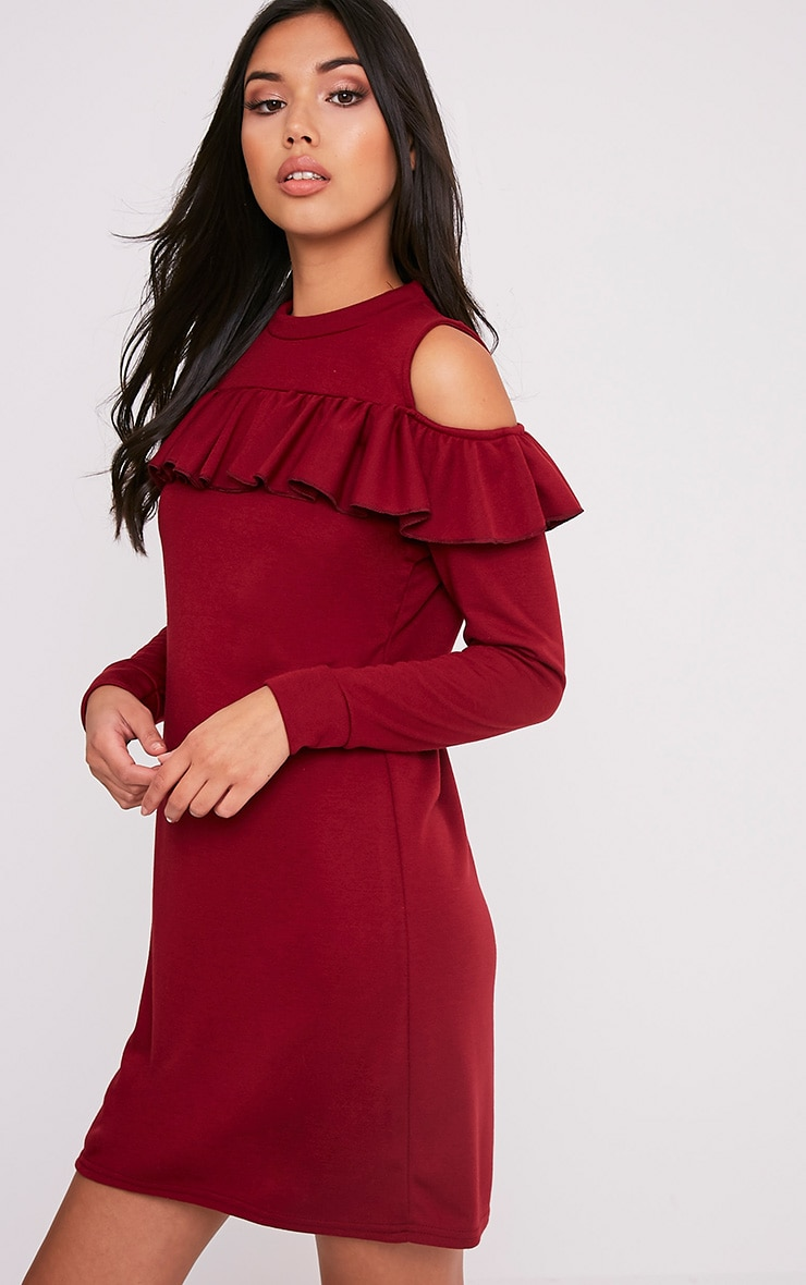 Bridy Wine Cold Shoulder Sweater Dress 4
