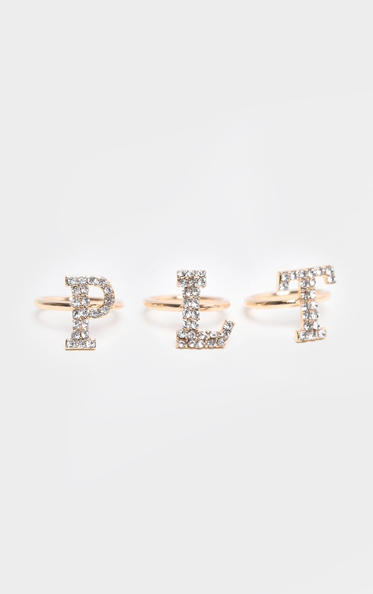 PRETTYLITTLETHING Gold Pave Slogan 3 Pack Ring 4