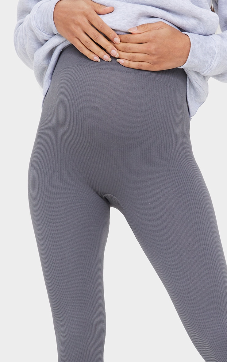 Maternity Slate Contour Ribbed Bump Support Leggings 4