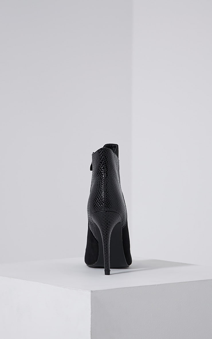Neve Black Faux Suede Pointed Croc Heel Boots 5