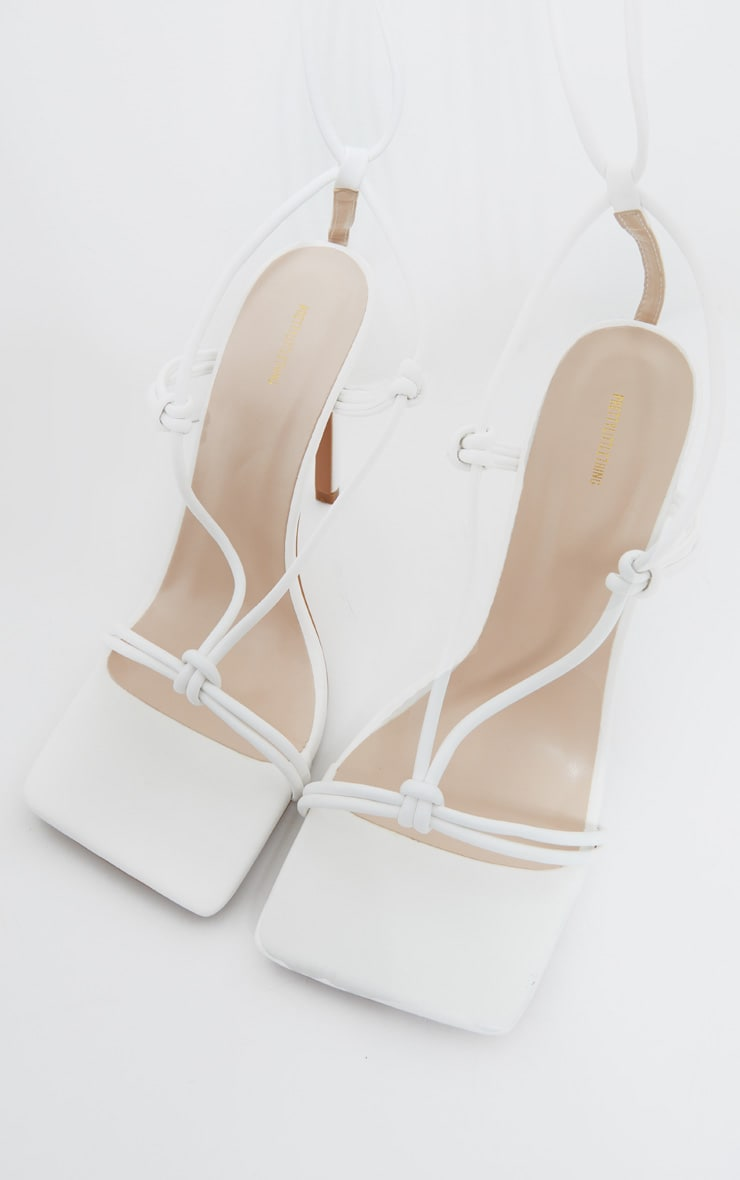 White Extreme Square Front Knot Detail High Heels 4