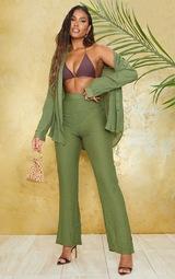 Khaki Wide Leg Linen Look Beach Pants 1