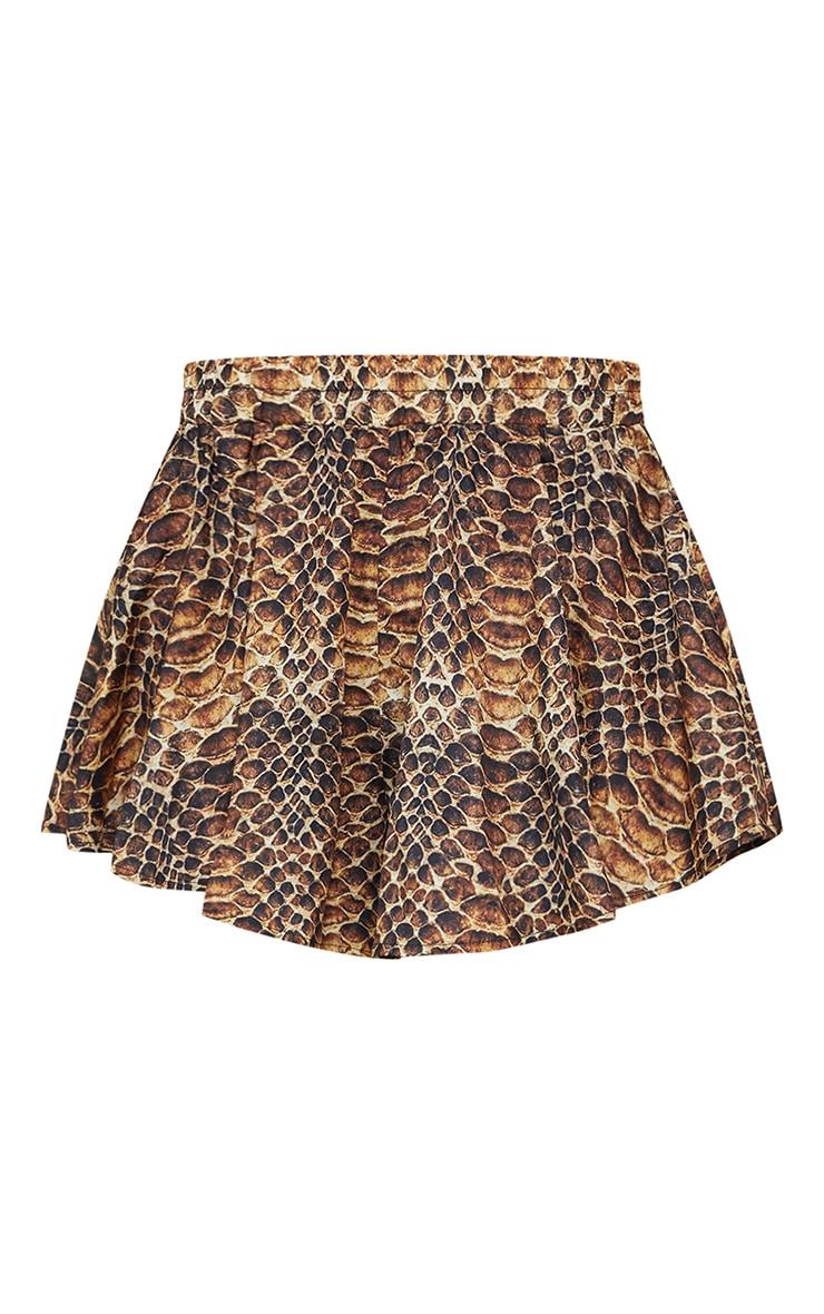 Brown Snakeskin Print Floaty Shorts 6