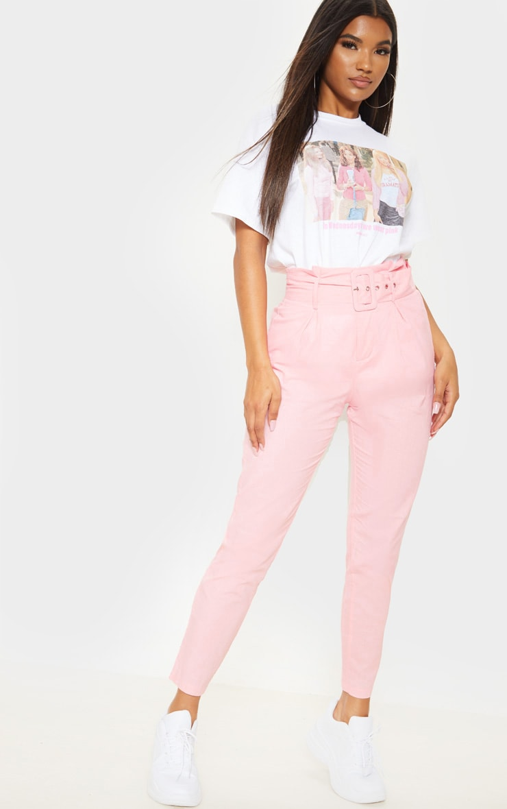 Pastel Pink Belted Paperbag Tapered Trouser 1
