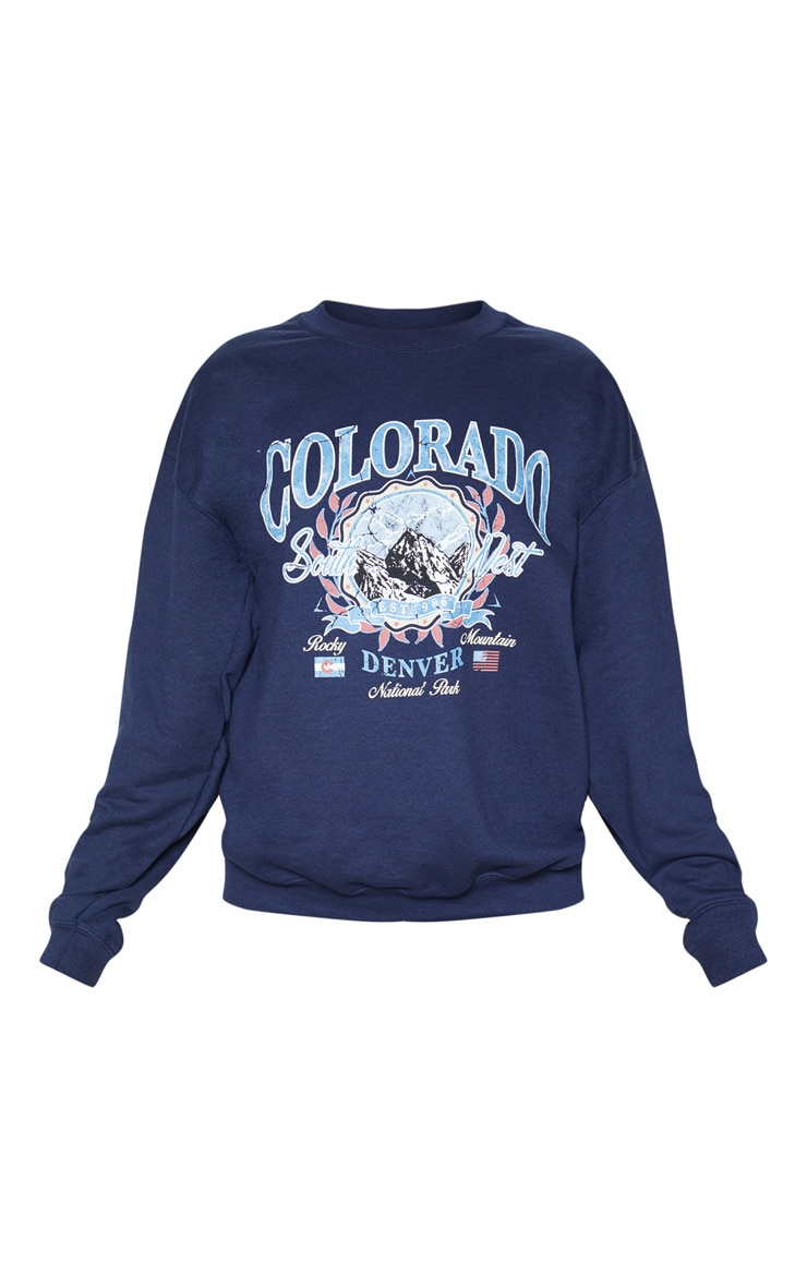 Navy Colorado Slogan Sweater 3