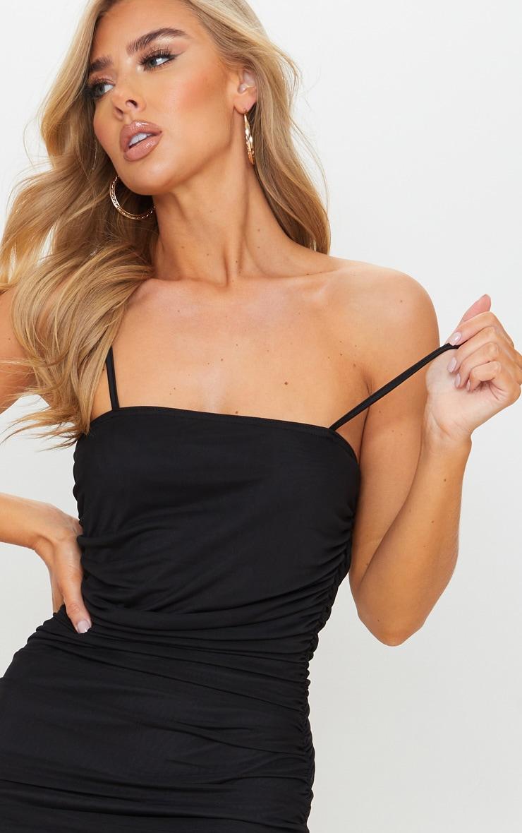 Black Strappy Mesh Midi Dress 4