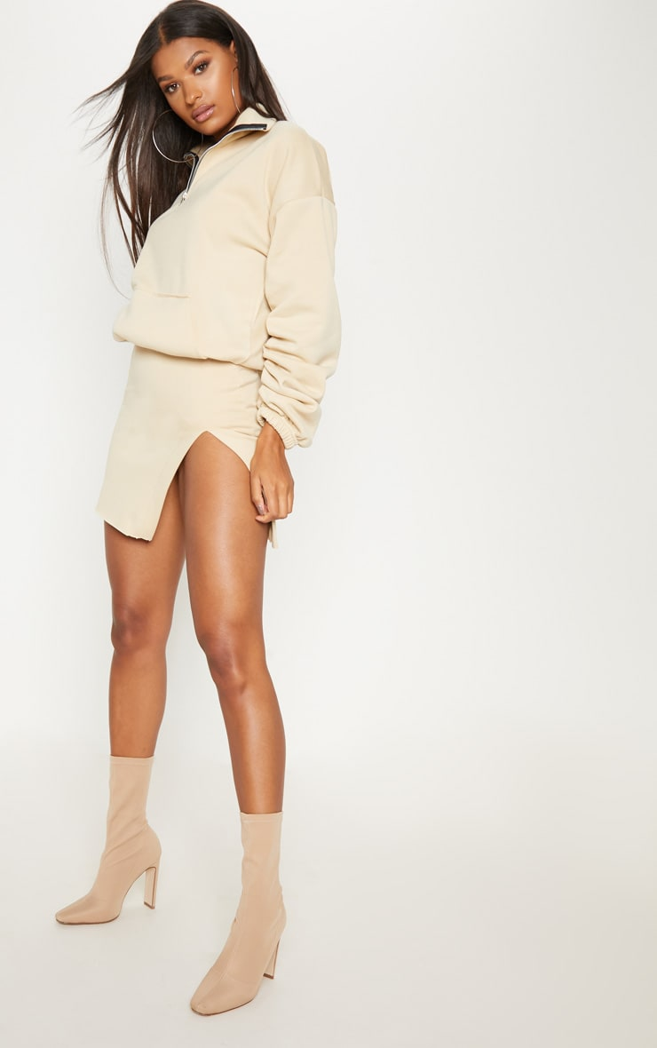 Cream Zip Oversized Ruched Sleeve Sweater 4